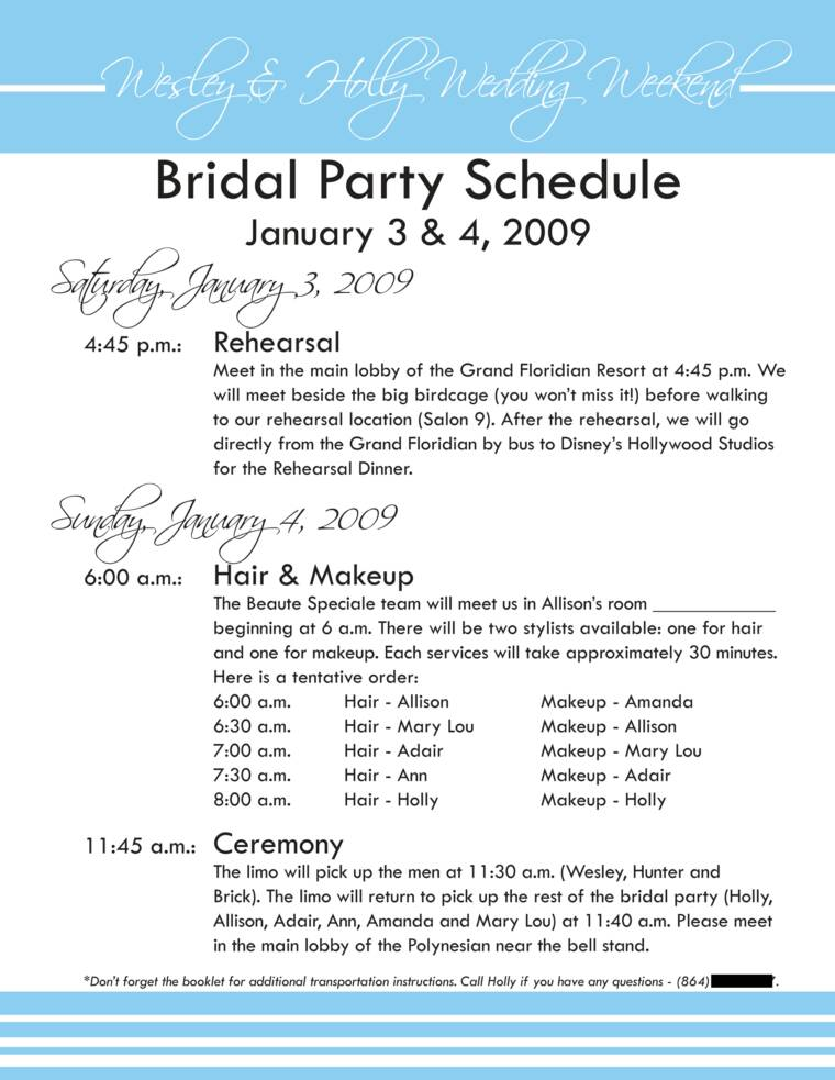 Wedding party itinerary template pronofoot35fo Choice Image